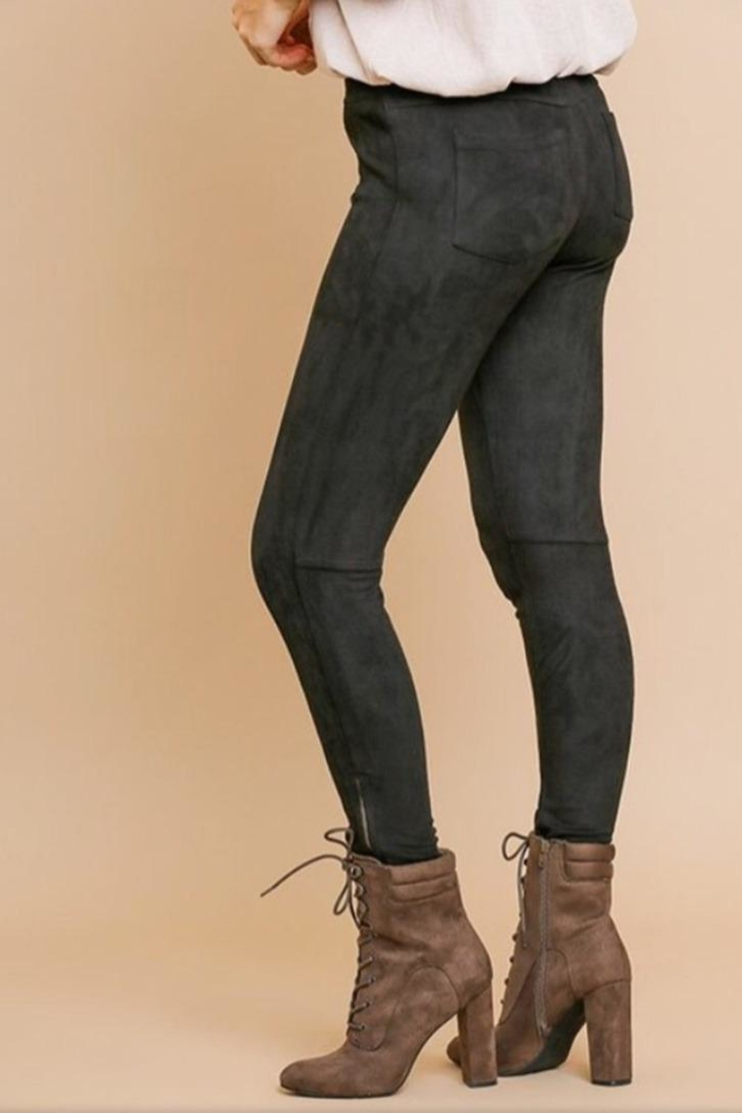 Umgee USA Black Suede Pants - Front Full Image