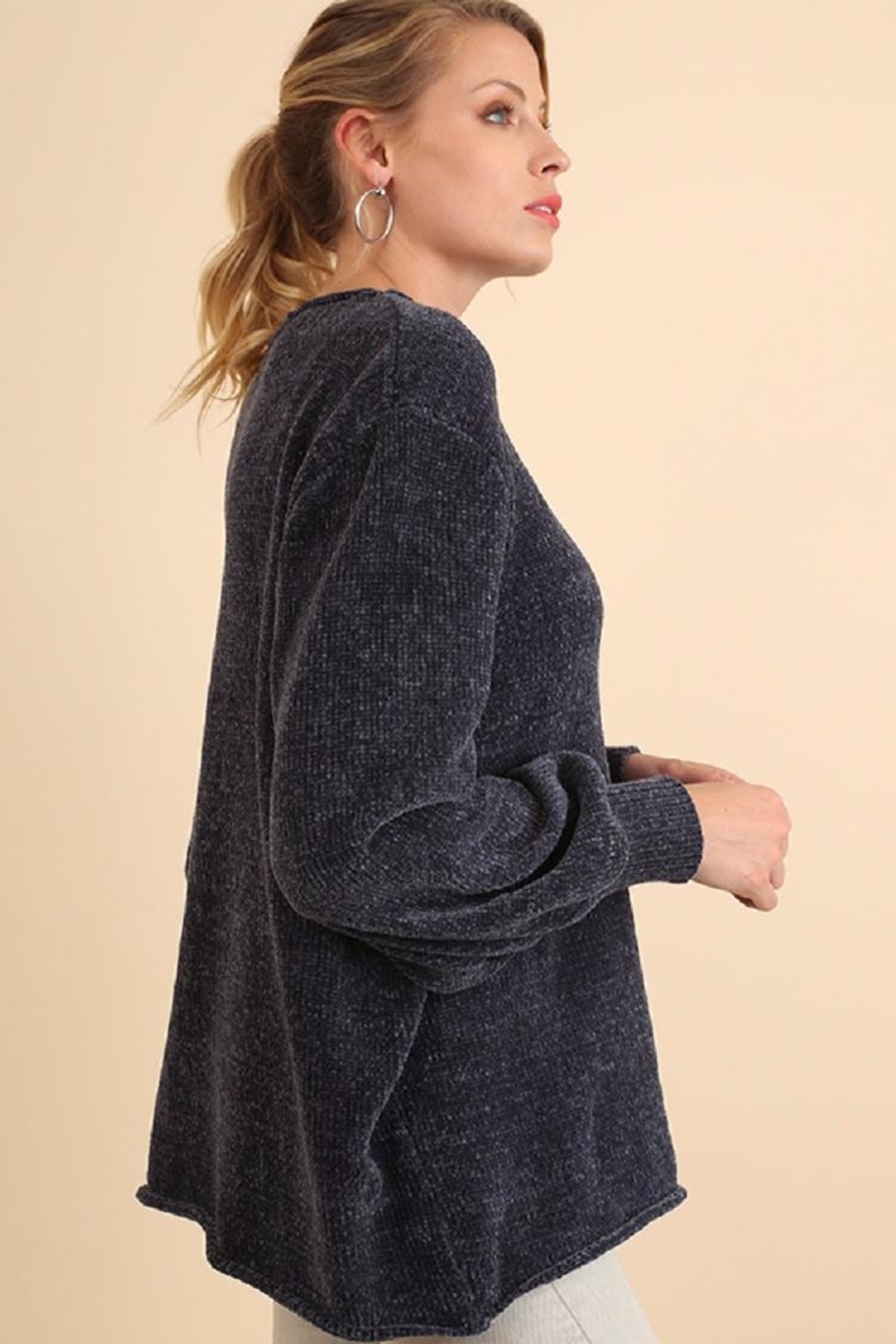 Umgee USA Blue Chenille Sweater - Front Full Image