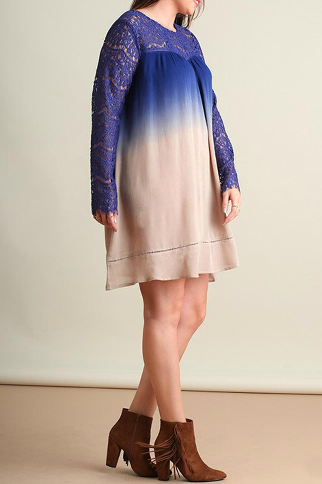 Umgee USA Blue Ombre Plus Dress - Front Full Image