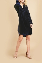 Umgee USA Blue Velvet Shirtdress - Front cropped