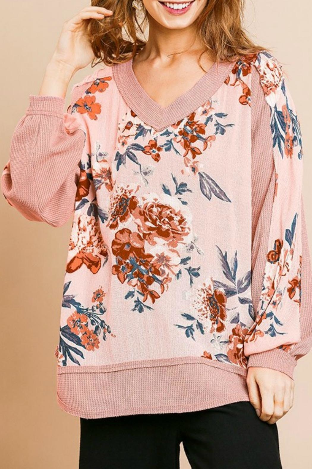 Umgee USA Pink Floral Top - Front Full Image