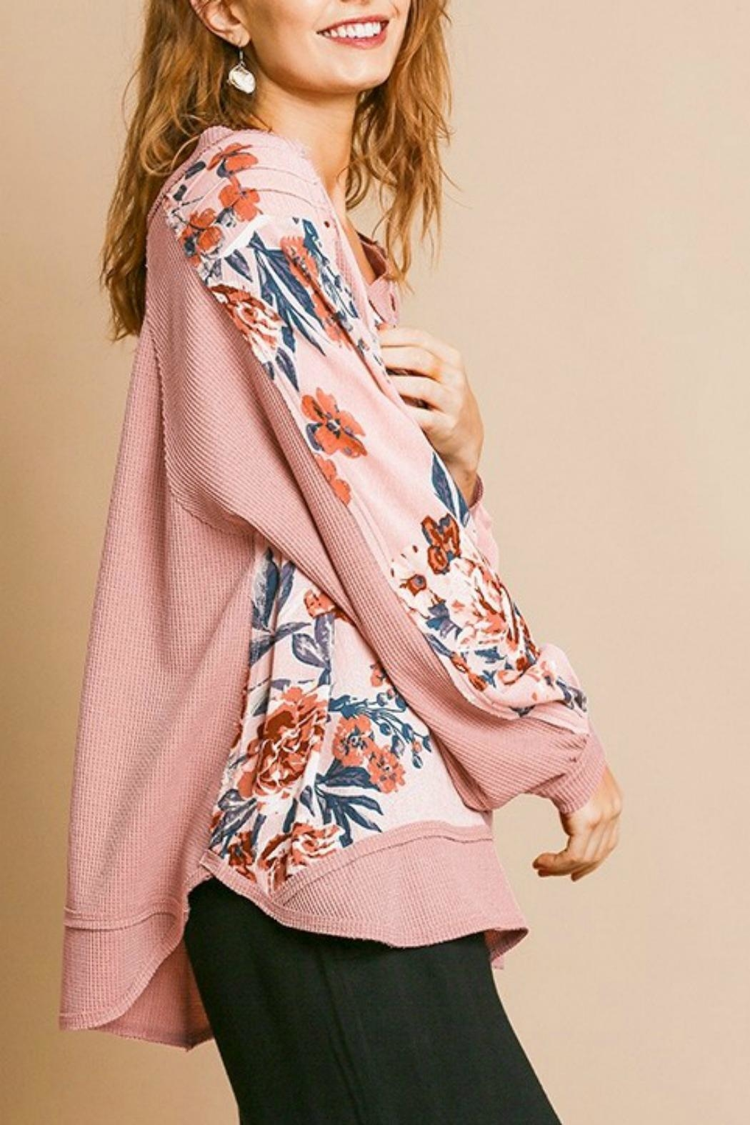 Umgee USA Pink Floral Top - Back Cropped Image