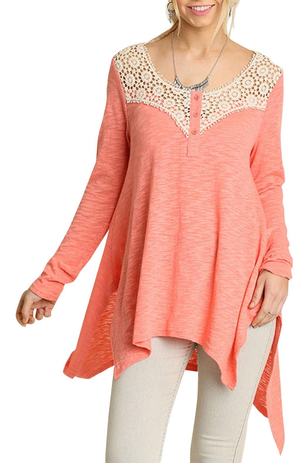 Umgee USA Boho Crochet Top - Front Full Image