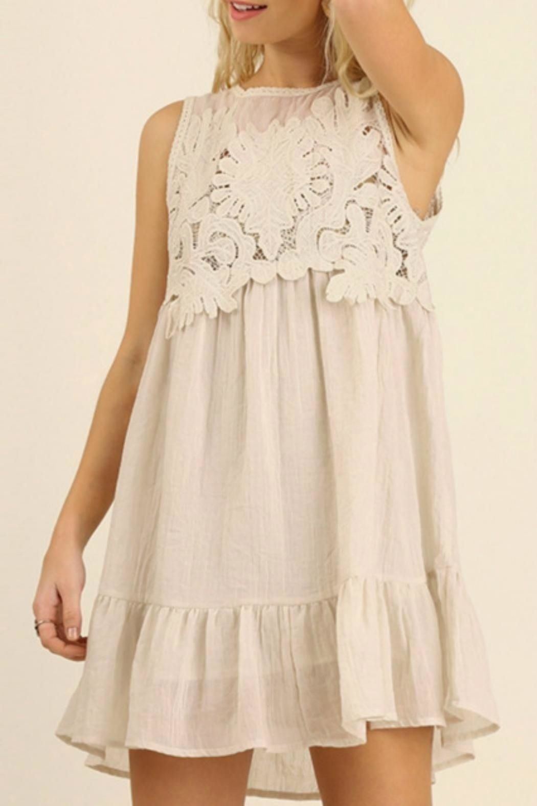 Umgee USA Boho Lace Dress - Front Cropped Image