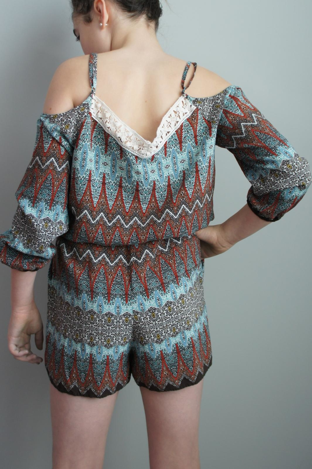 Umgee USA Boho Off-The-Shoulder Romper - Front Full Image