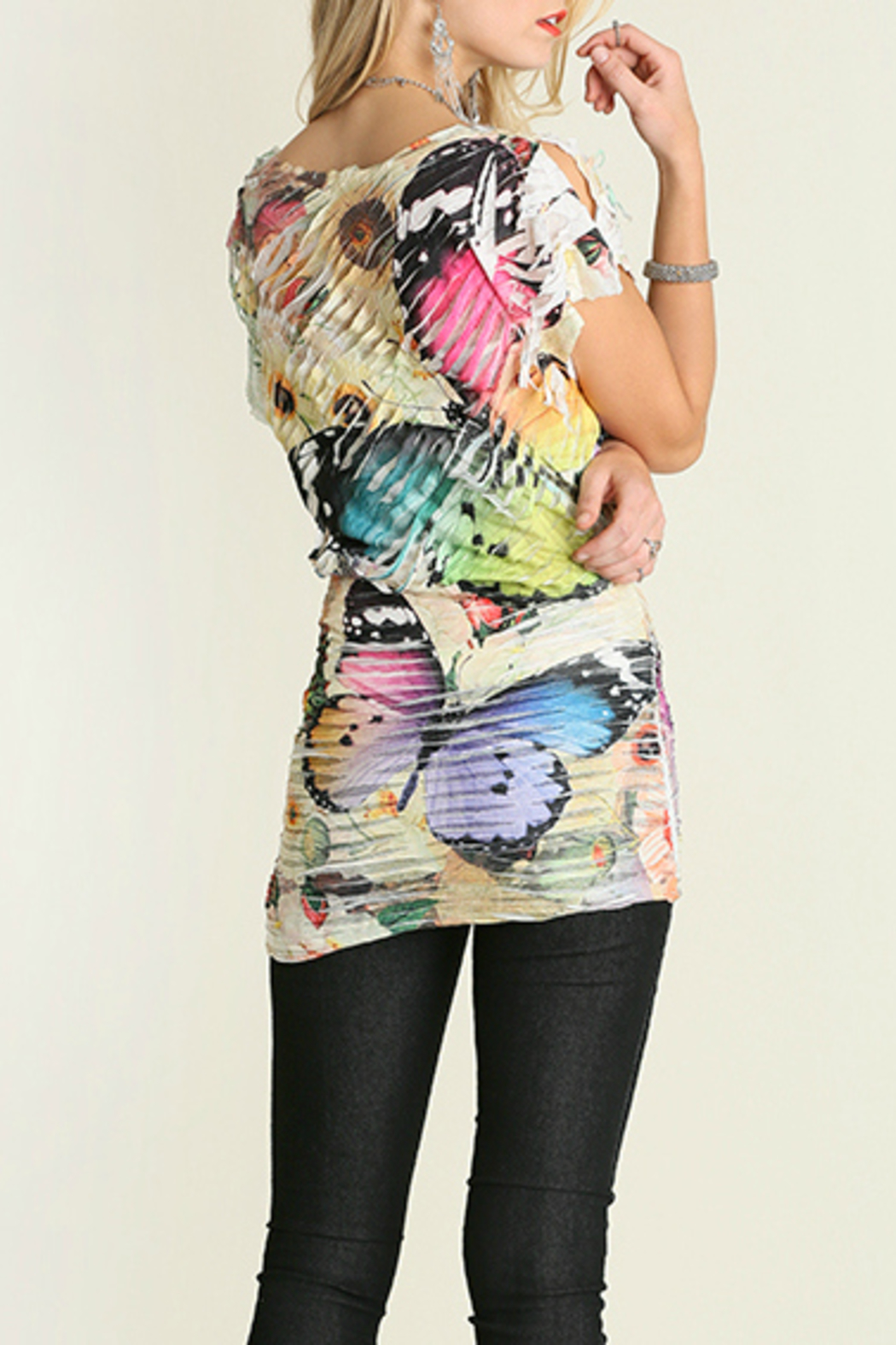 Umgee USA Butterfly Sublimation Top - Back Cropped Image