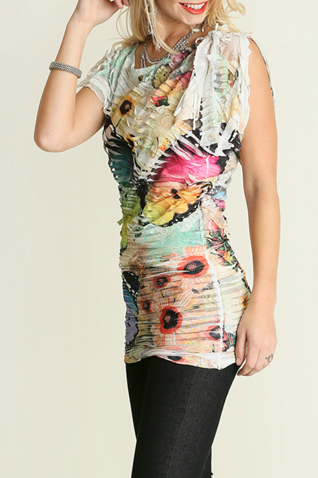 Umgee USA Butterfly Sublimation Top - Side Cropped Image