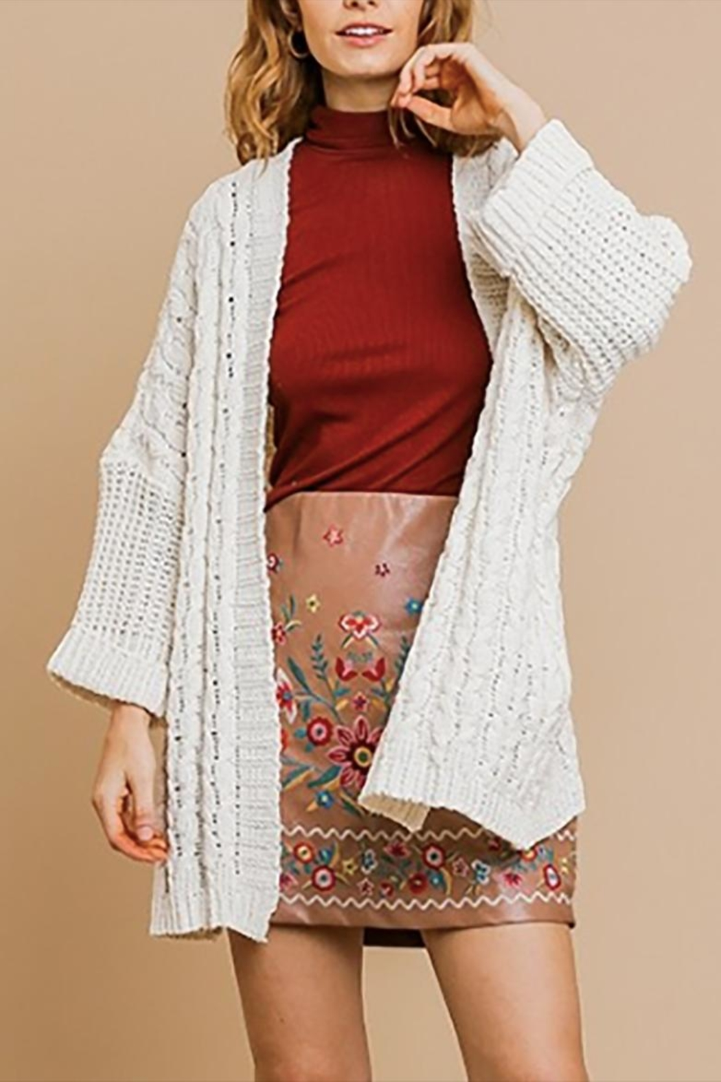 Umgee USA Cable Knit Cardigan - Front Full Image