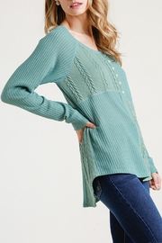 Umgee USA Cable Waffle-Knit Top - Front cropped