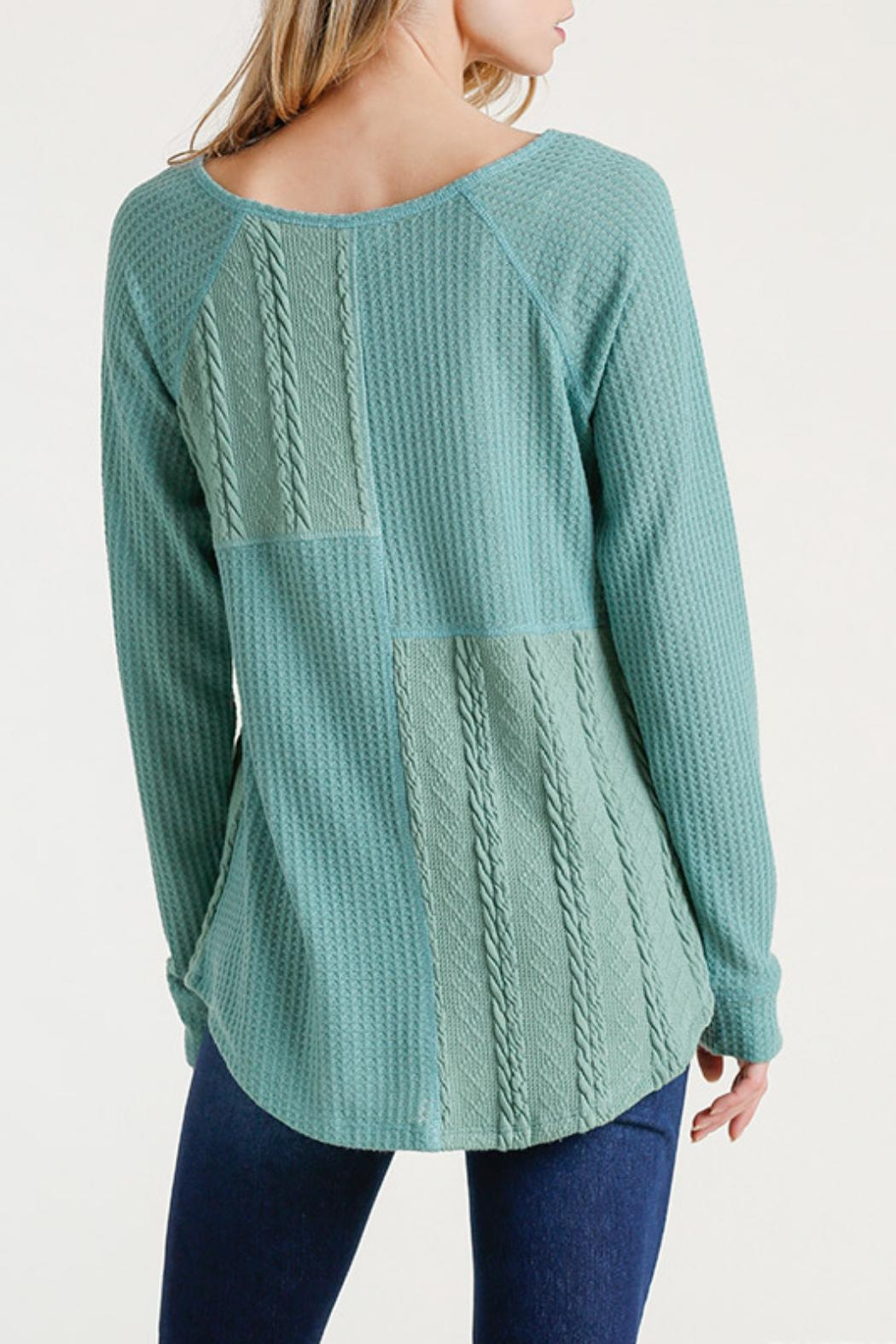 Umgee USA Cable Waffle-Knit Top - Side Cropped Image