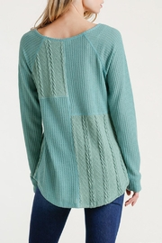 Umgee USA Cable Waffle-Knit Top - Side cropped
