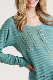 Umgee USA Cable Waffle-Knit Top - Front full body