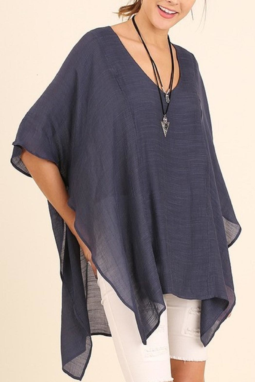 Umgee USA Sheer Blue Tunic Top - Front Cropped Image