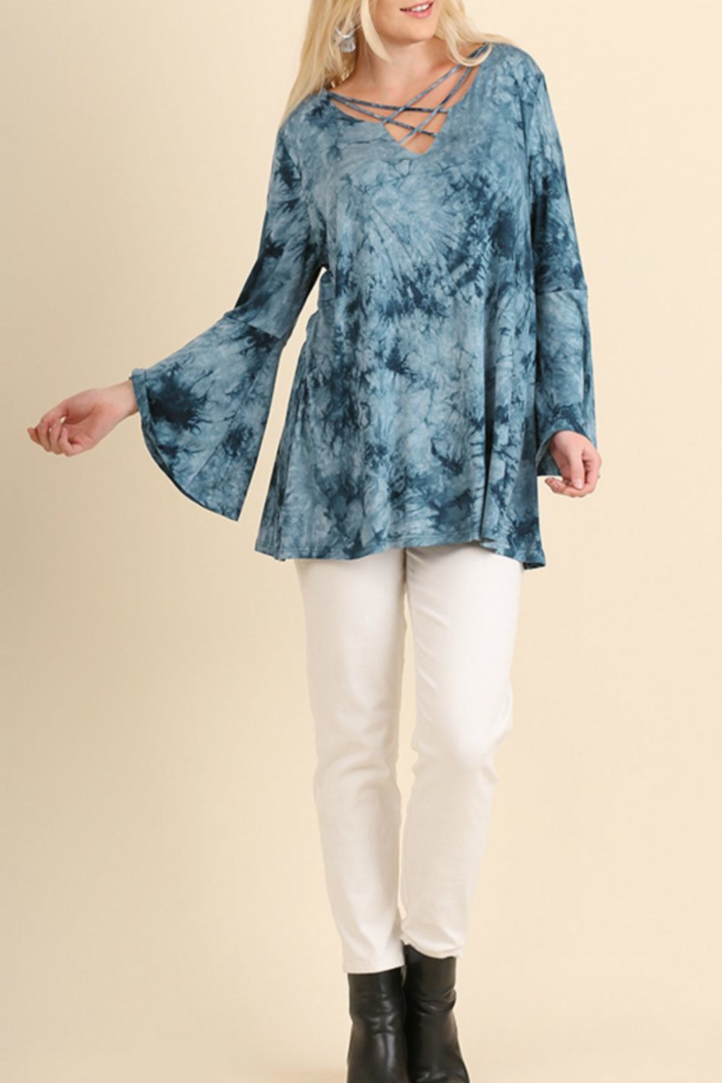 Umgee USA Cage-Front Tie-Dye Tunic - Main Image