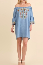 Umgee USA Embroidered Chambray Dress - Side cropped