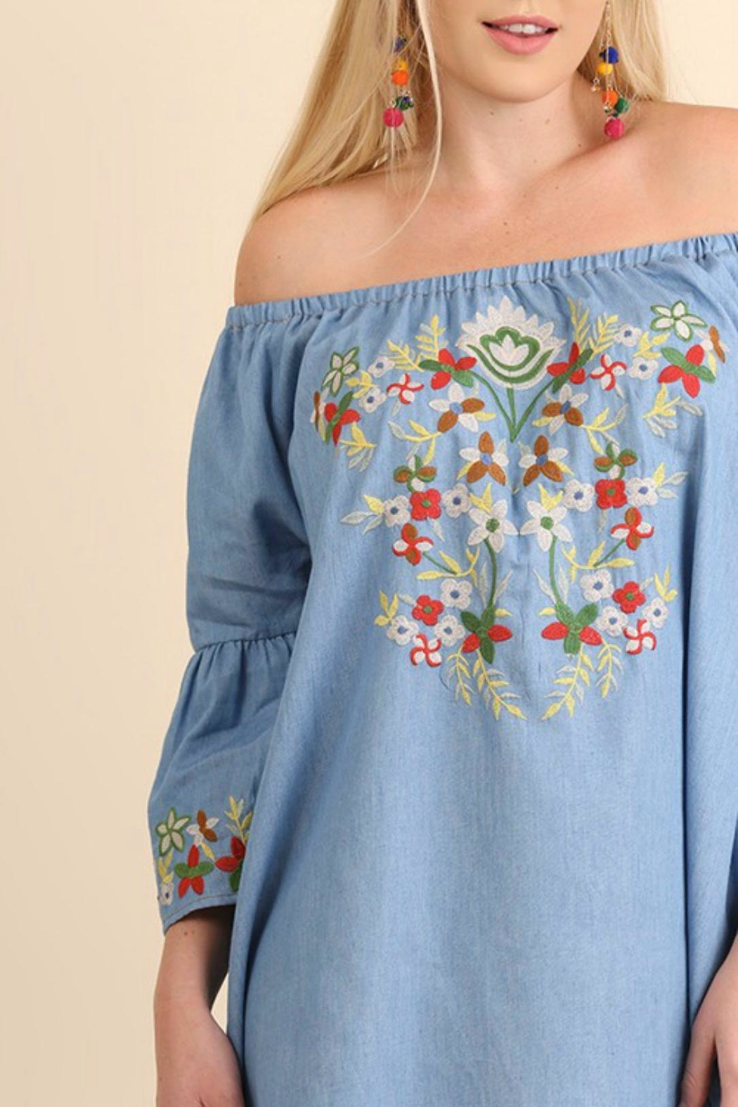 Umgee USA Embroidered Chambray Dress - Front Cropped Image