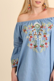 Umgee USA Embroidered Chambray Dress - Front cropped