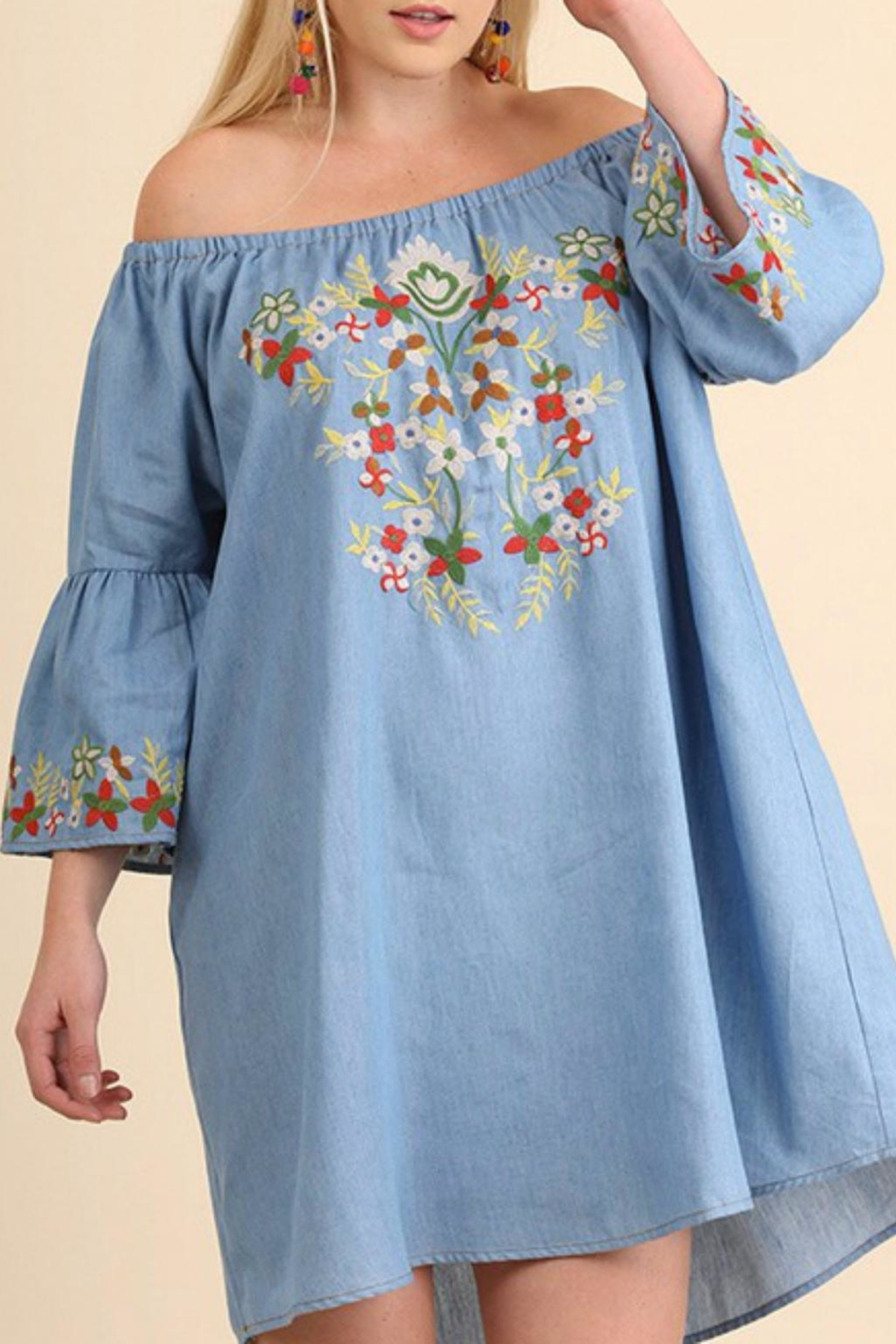 Umgee USA Embroidered Chambray Dress - Front Full Image