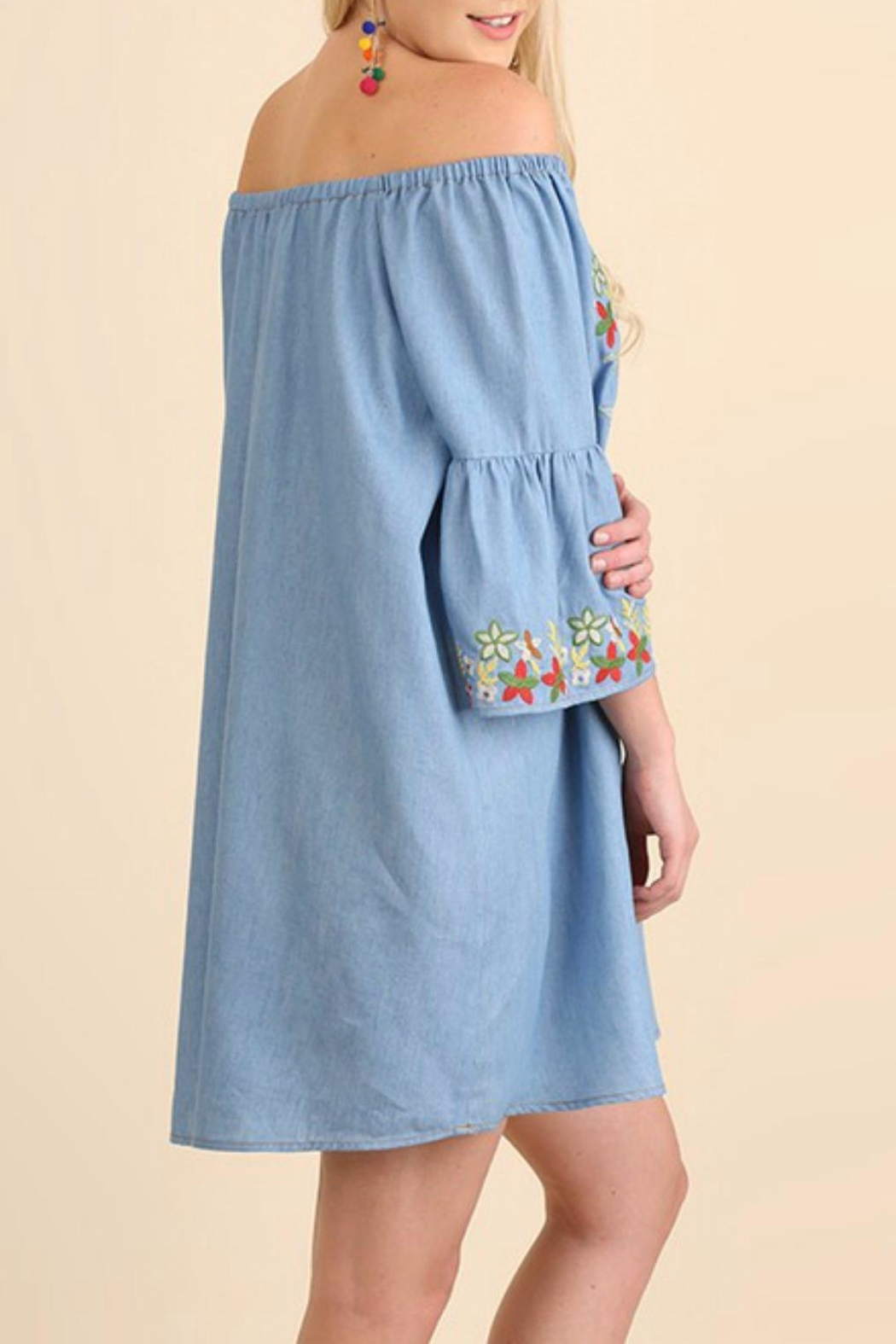 Umgee USA Embroidered Chambray Dress - Back Cropped Image