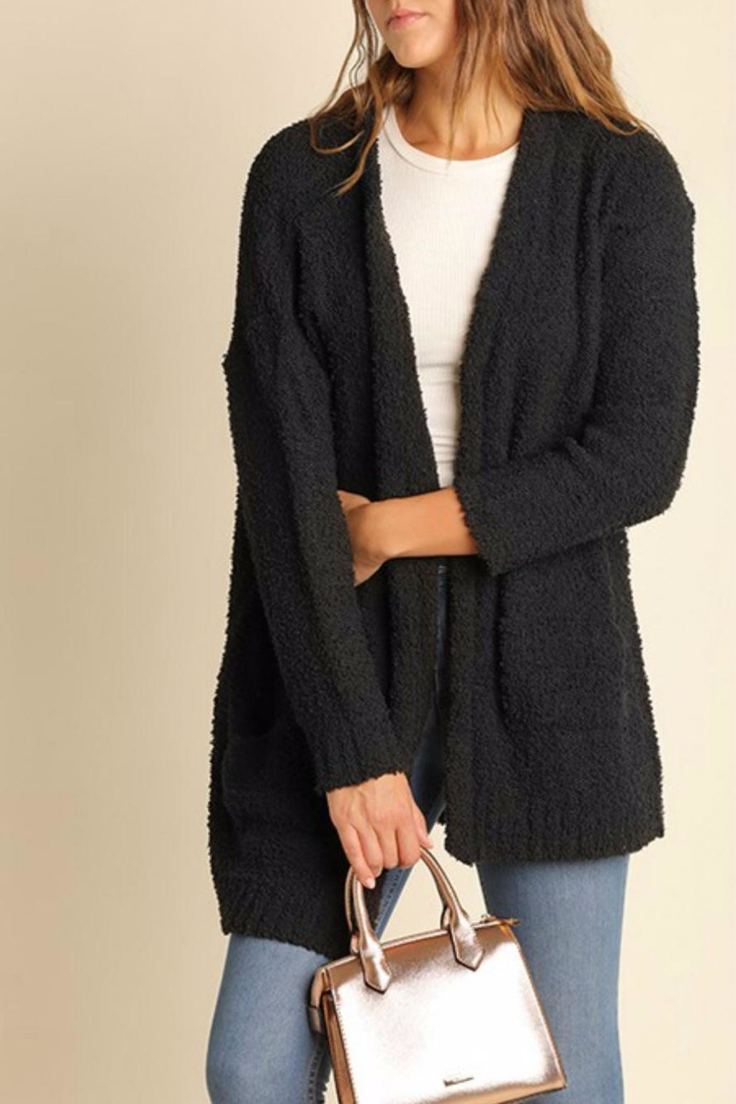 Umgee USA Charcoal Boucle Cardigan - Front Cropped Image