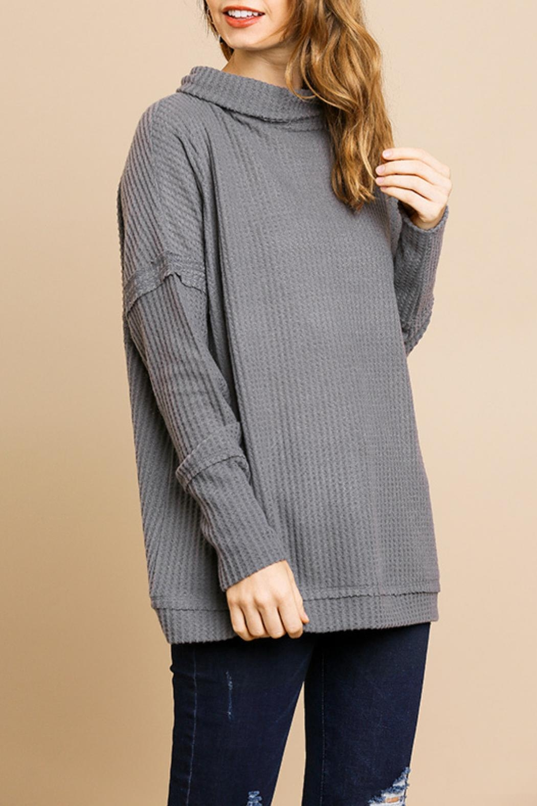 Umgee USA Charcoal Waffle-Knit Sweater - Front Cropped Image