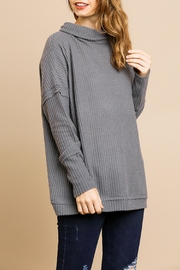 Umgee USA Charcoal Waffle-Knit Sweater - Front cropped