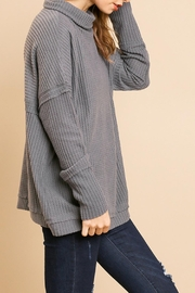 Umgee USA Charcoal Waffle-Knit Sweater - Front full body