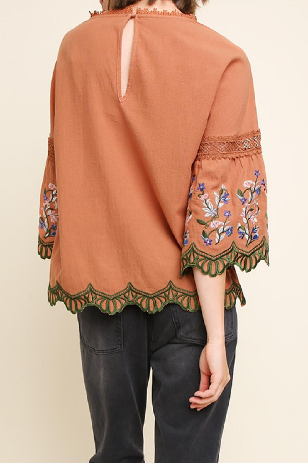 Umgee USA Clay Embroidered Blouse - Side Cropped Image