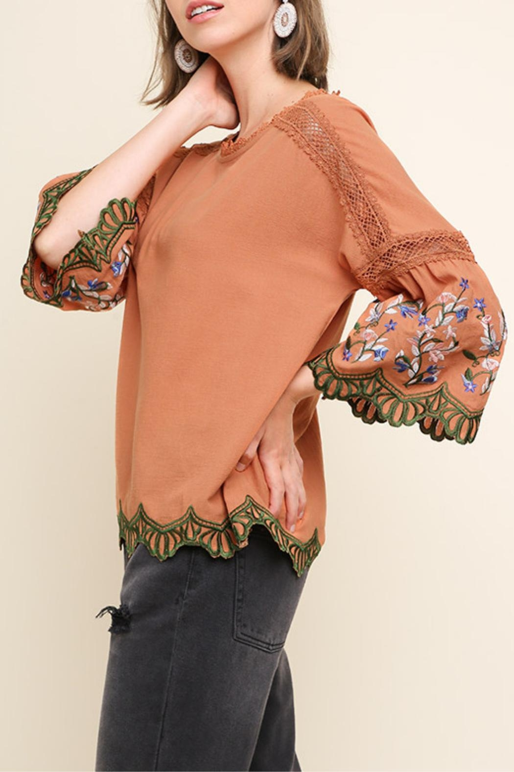 Umgee USA Clay Embroidered Blouse - Front Full Image
