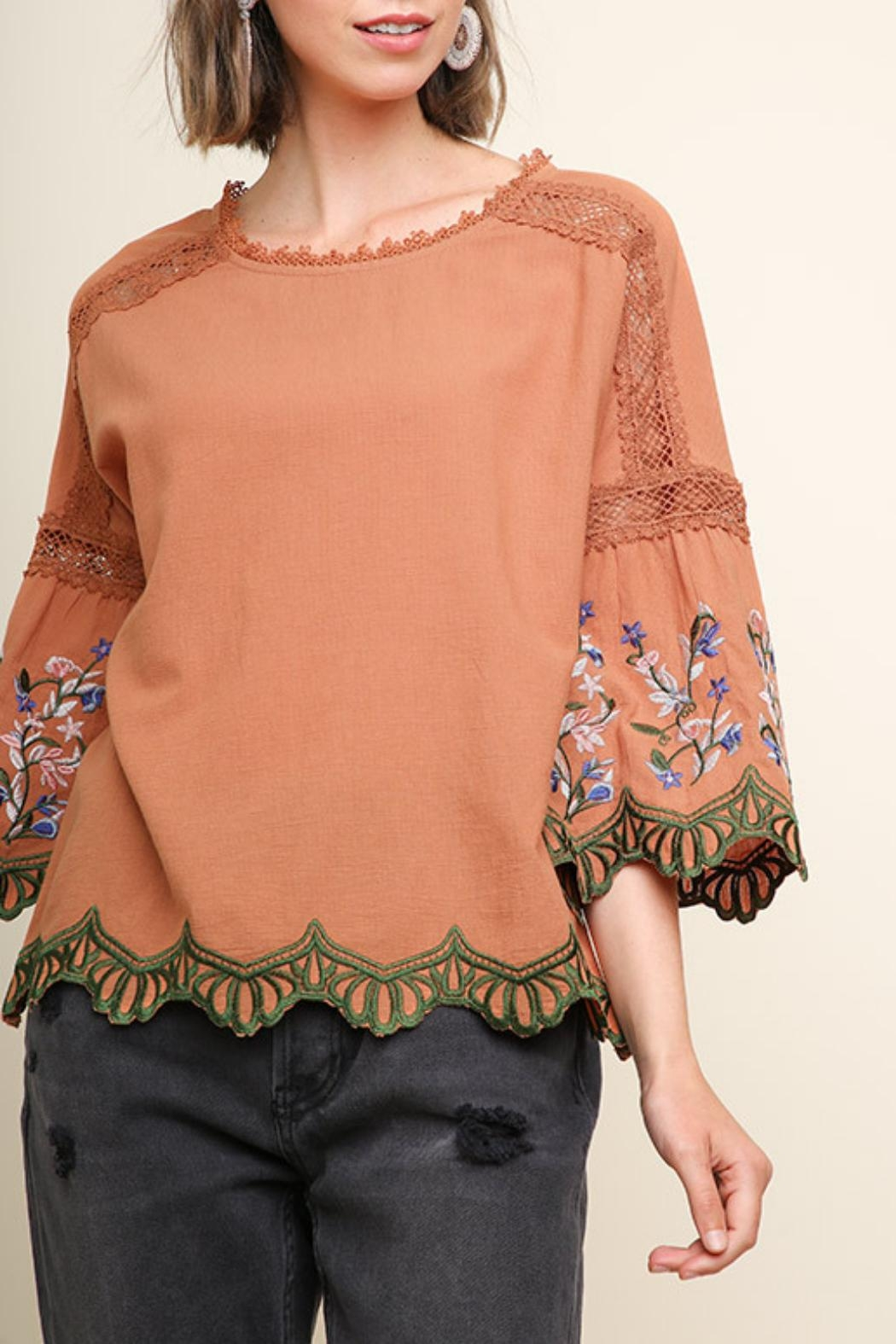 Umgee USA Clay Embroidered Blouse - Main Image