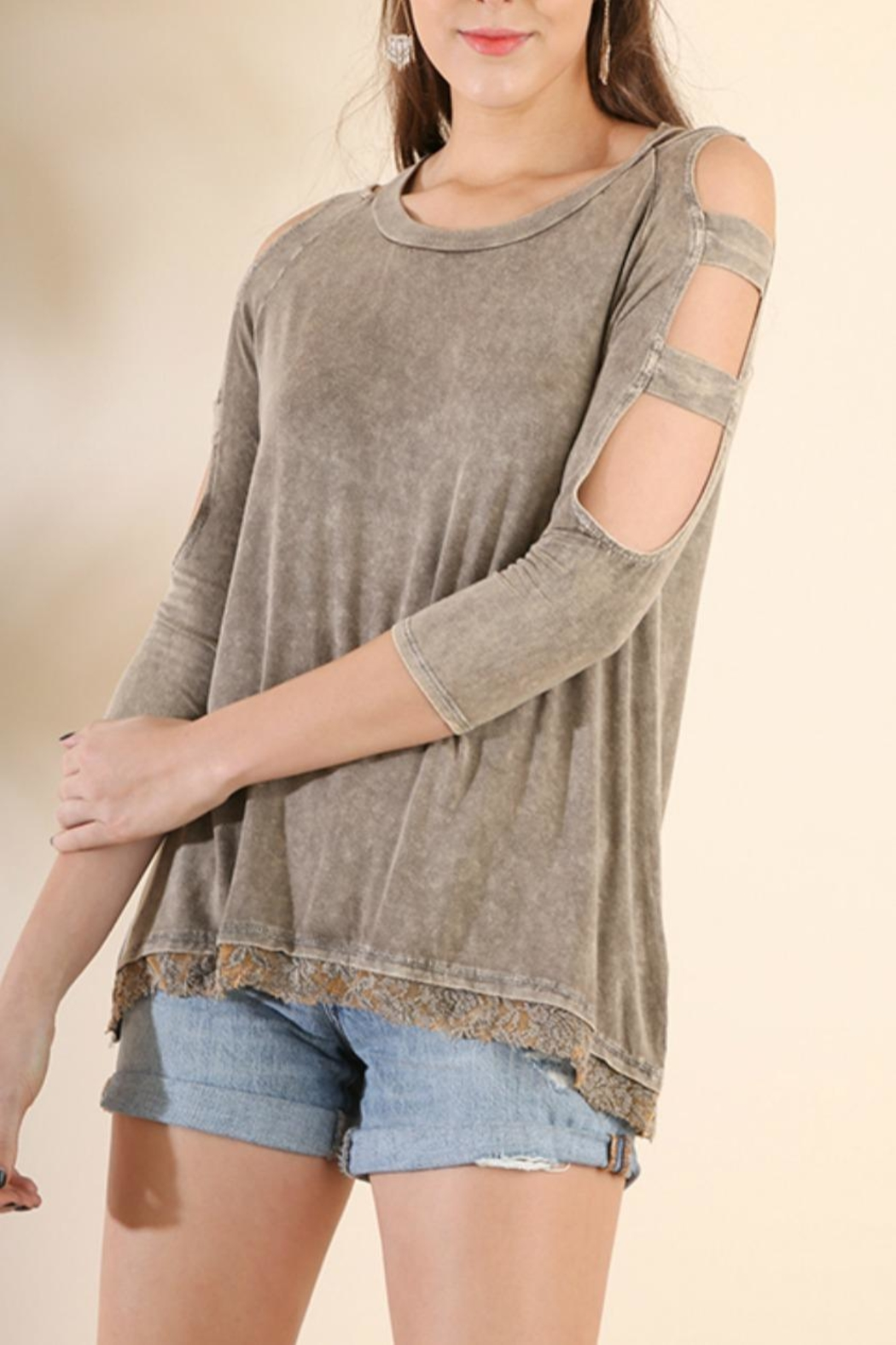 Umgee USA Cold-Shoulder 3/4-Sleeve Top - Main Image