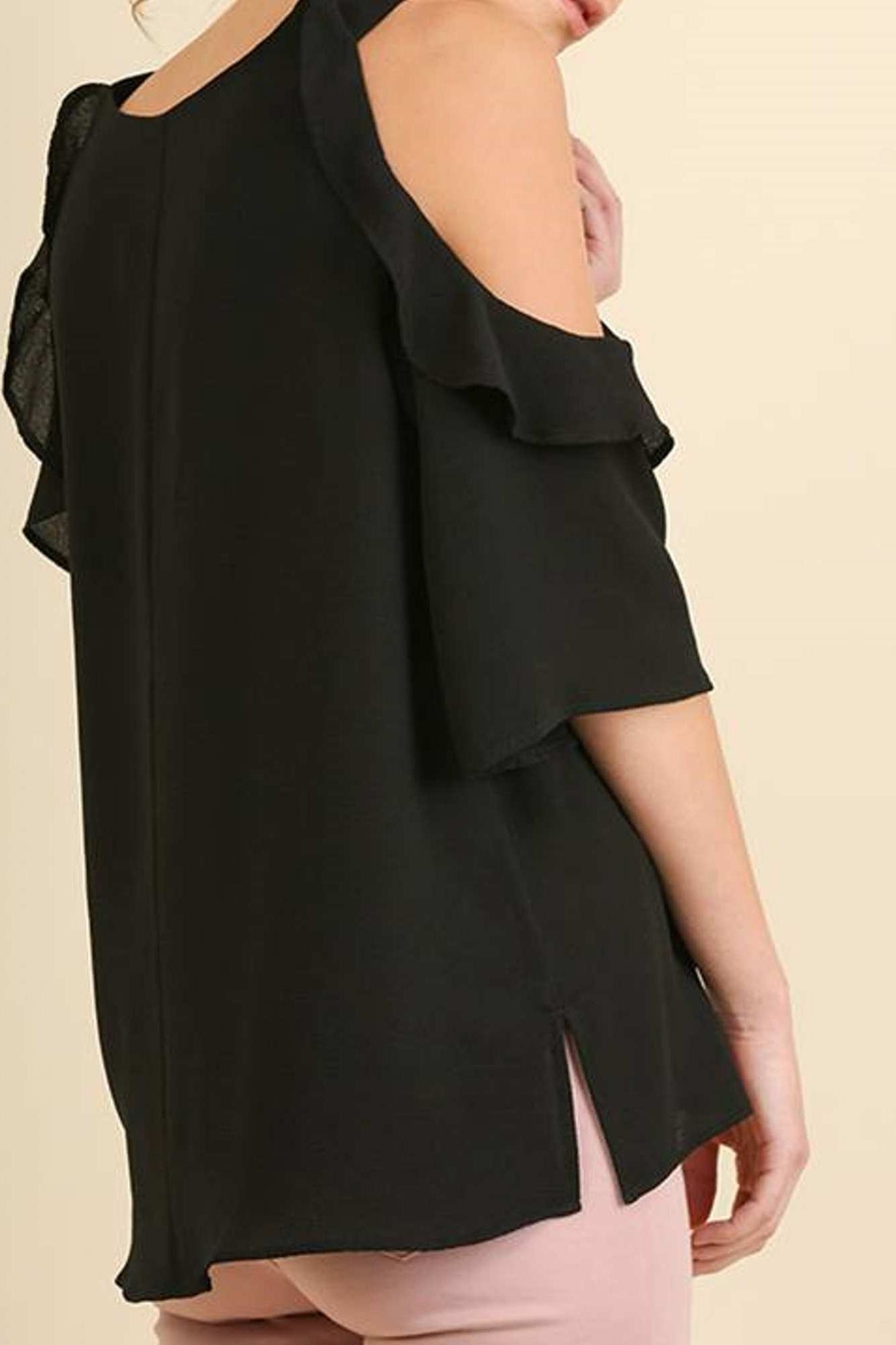 Umgee USA Cold Shoulder Blouse - Front Cropped Image