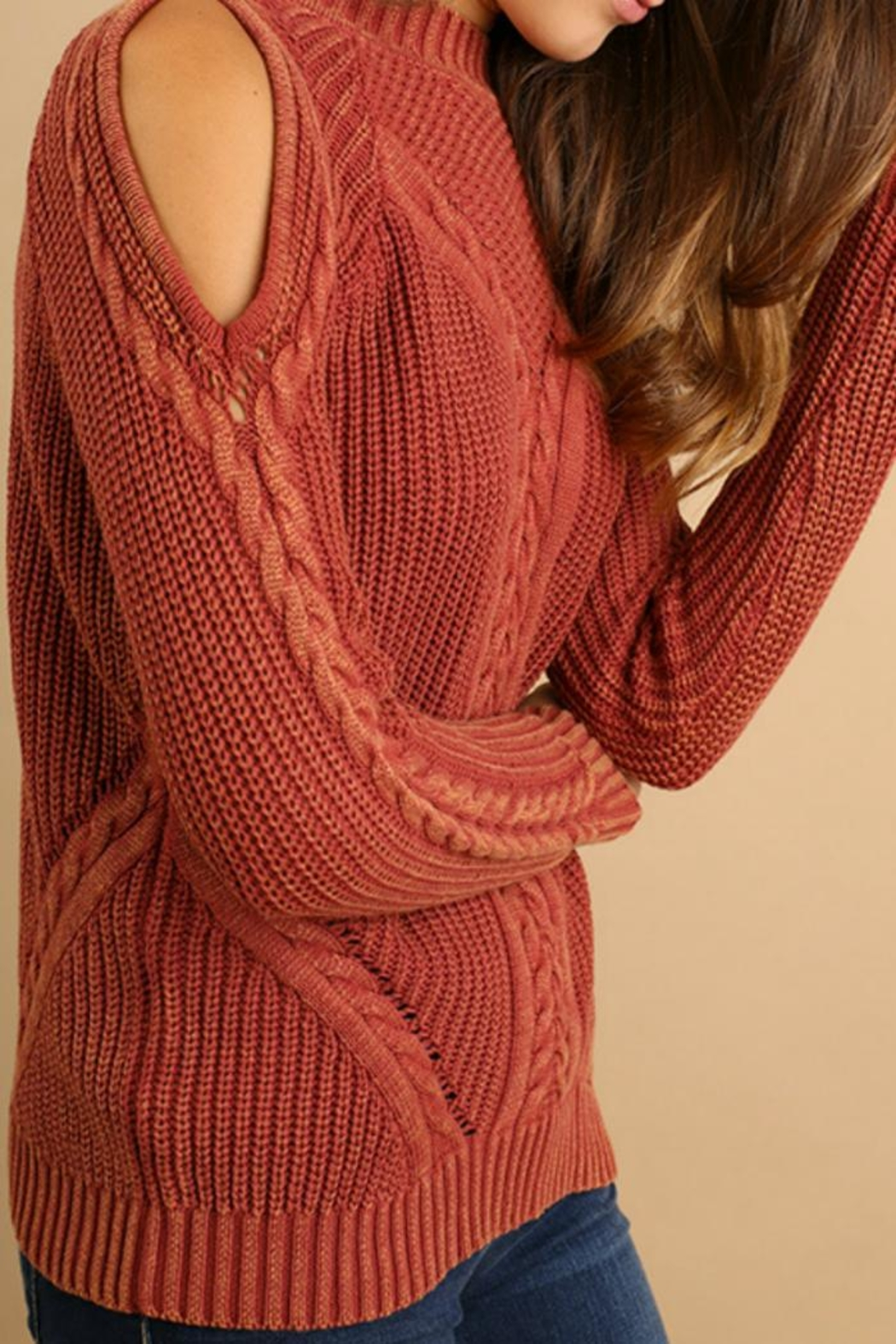 Umgee USA Cold-Shoulder Cable-Knit Sweater - Side Cropped Image