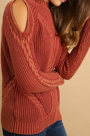 Umgee USA Cold-Shoulder Cable-Knit Sweater - Side cropped