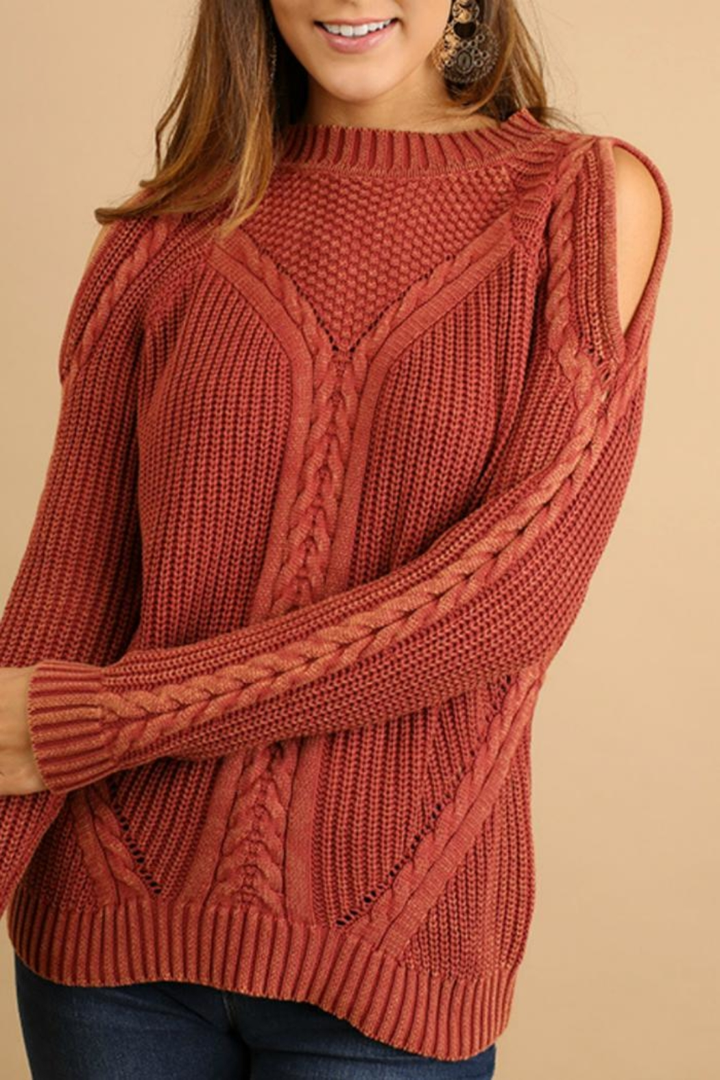 Umgee USA Cold-Shoulder Cable-Knit Sweater - Main Image