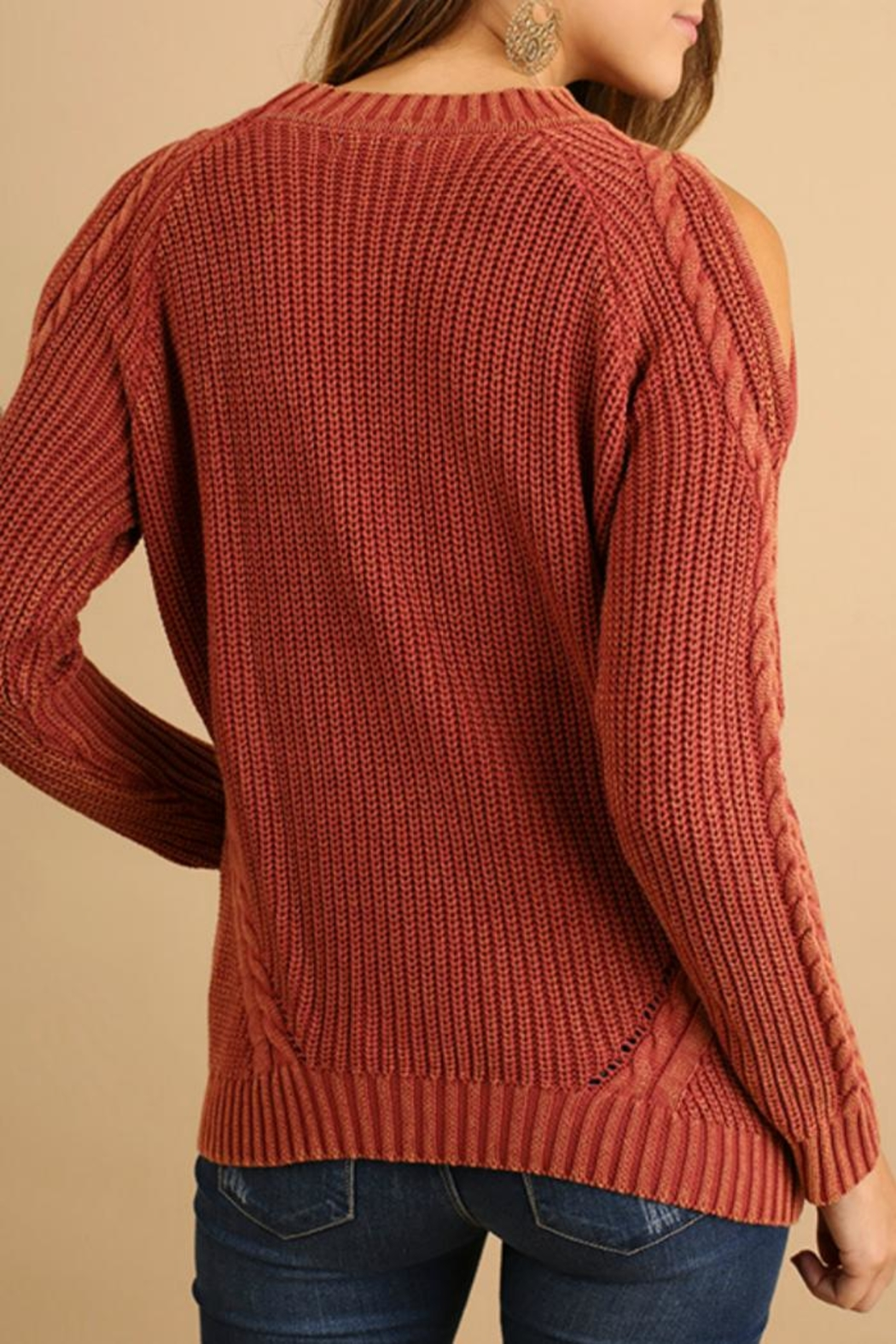 Umgee USA Cold-Shoulder Cable-Knit Sweater - Front Full Image