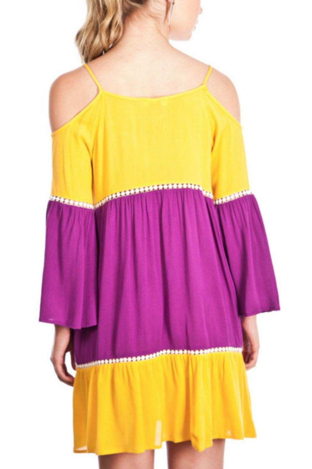 Umgee USA Cold-Shoulder Colorblock Dress - Front Full Image