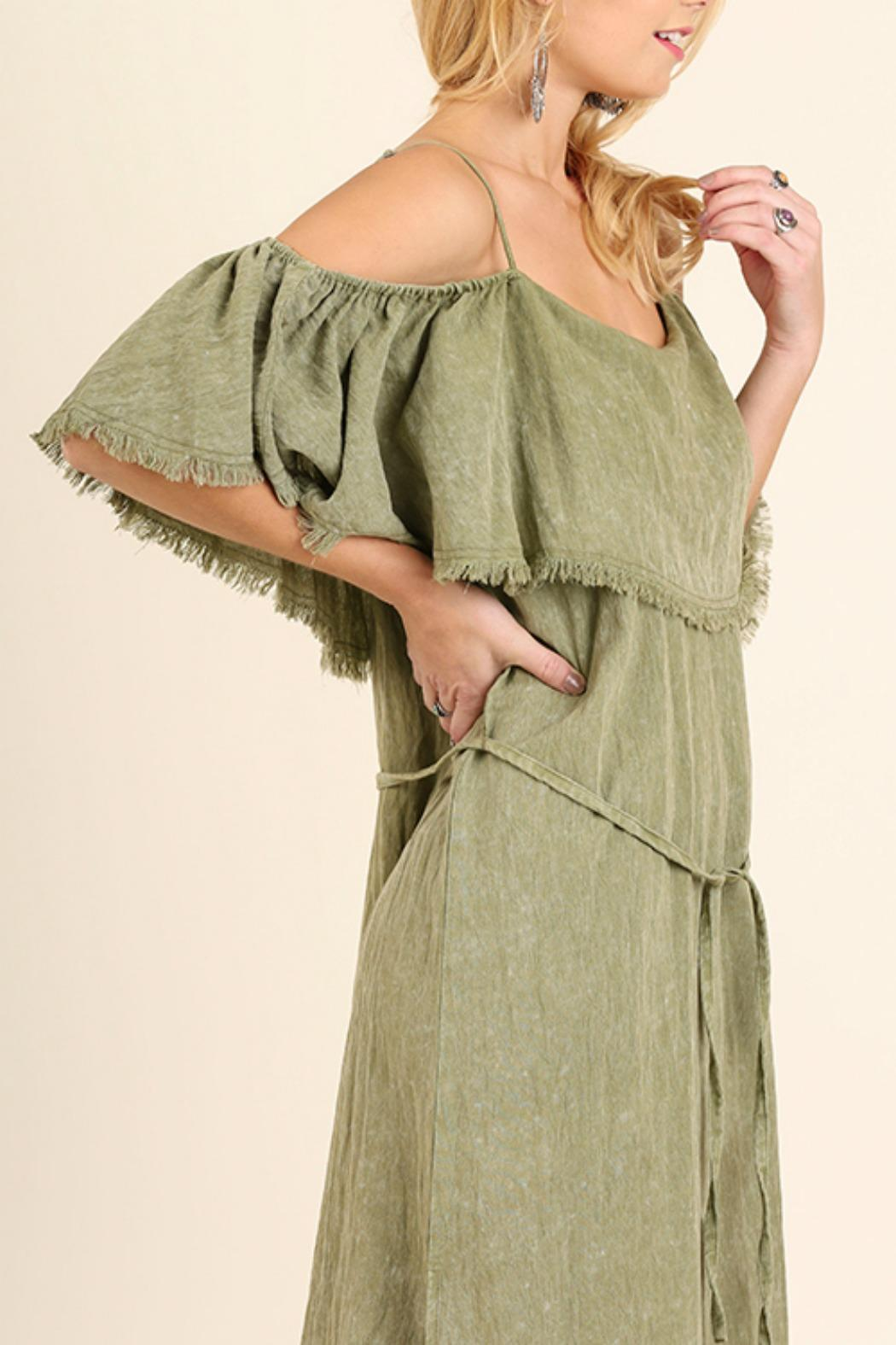 Umgee USA Cold Shoulder Maxi - Back Cropped Image