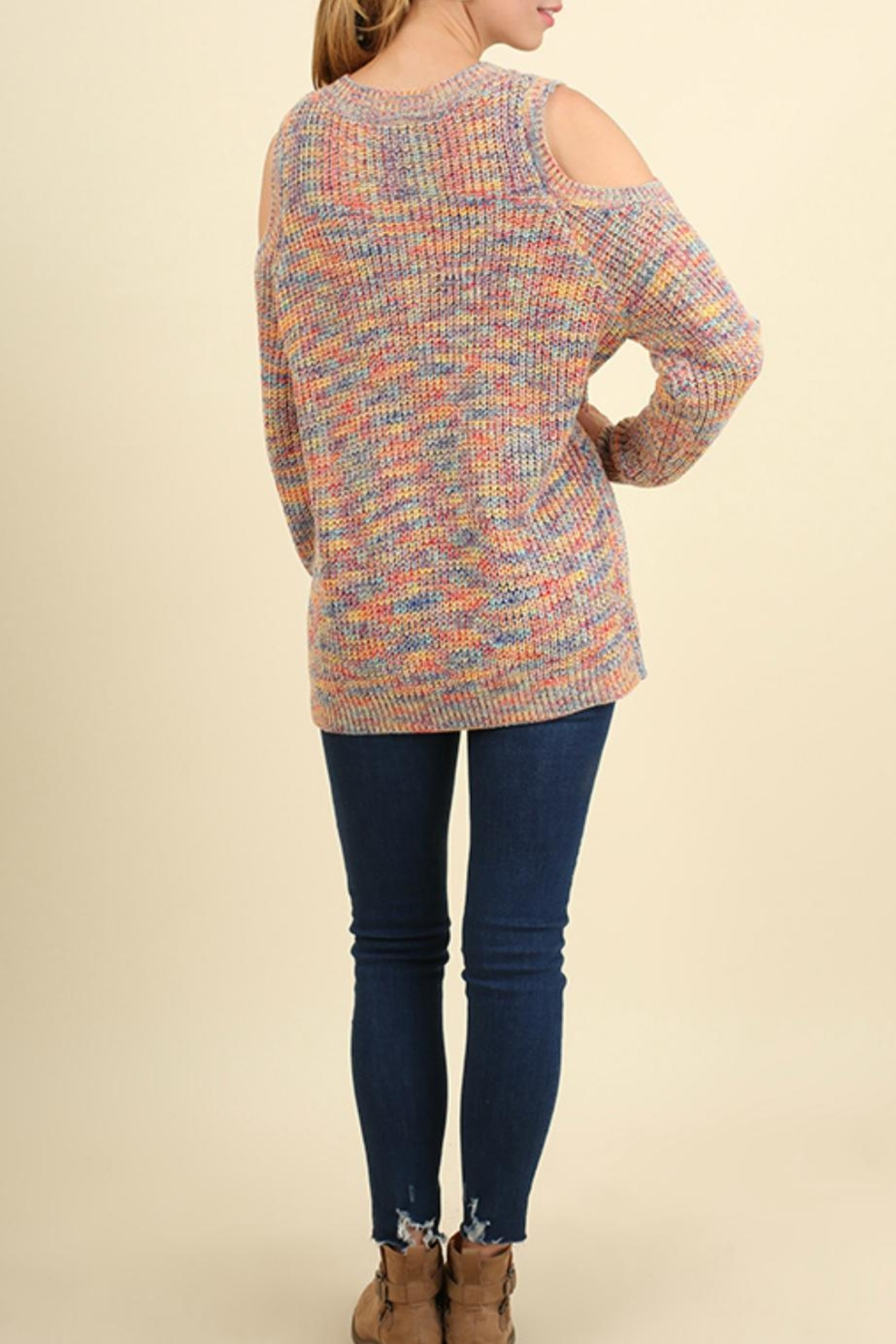 Umgee USA Cold Shoulder Sweater - Front Full Image