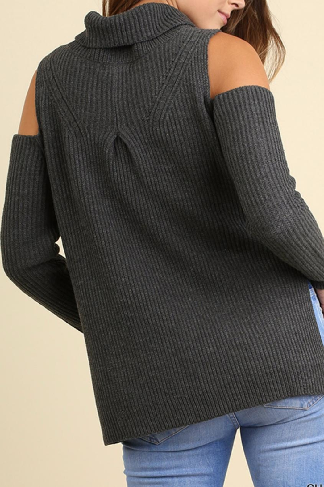 Umgee USA Cold Shoulder Sweater - Side Cropped Image