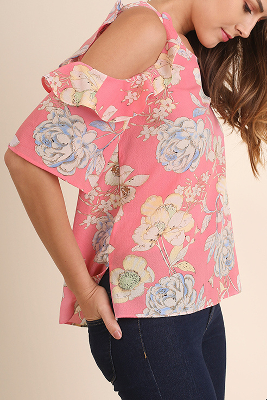 Umgee USA Cold Shoulder Top - Front Full Image