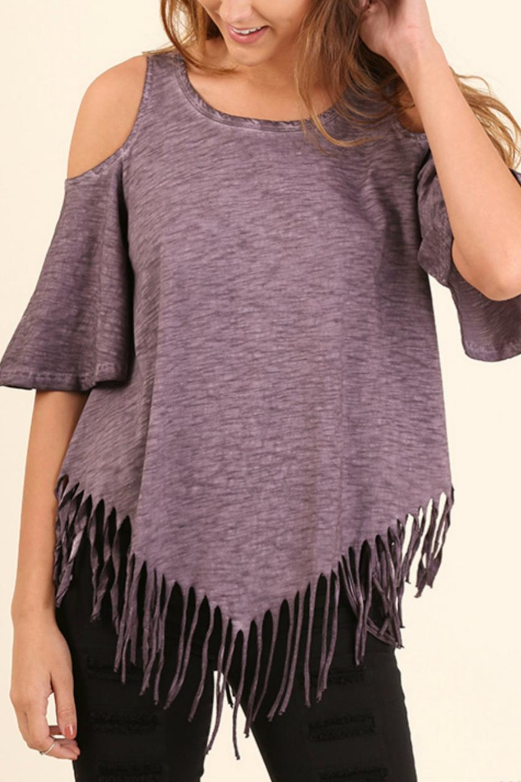 Umgee USA Cold Shoulder Top - Front Cropped Image