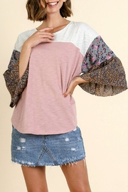 Umgee USA Color-Block-Floral-Print Bell-Sleeve Top - Product Mini Image