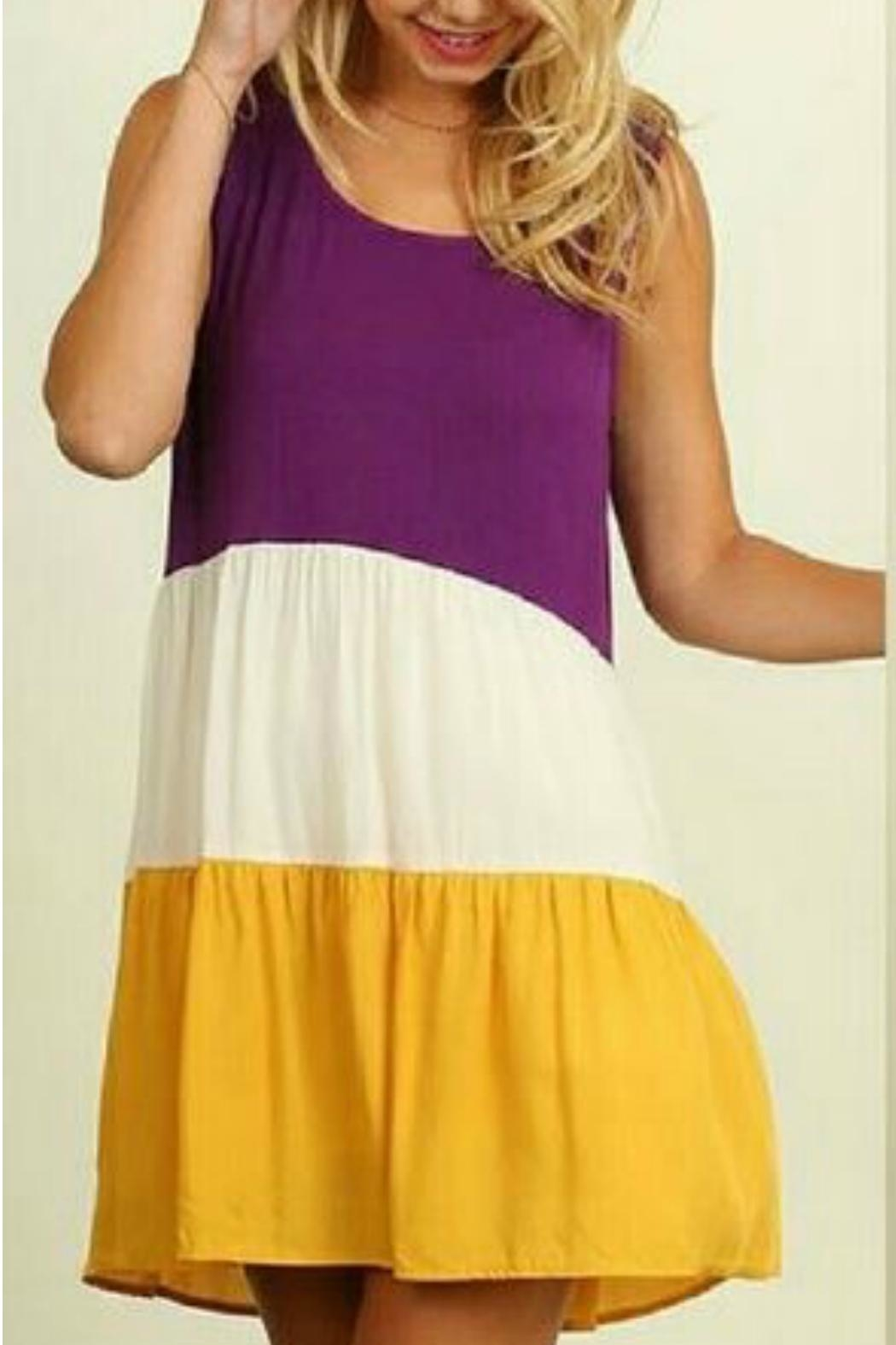 Umgee USA Colorblock Peasant Dress - Front Cropped Image