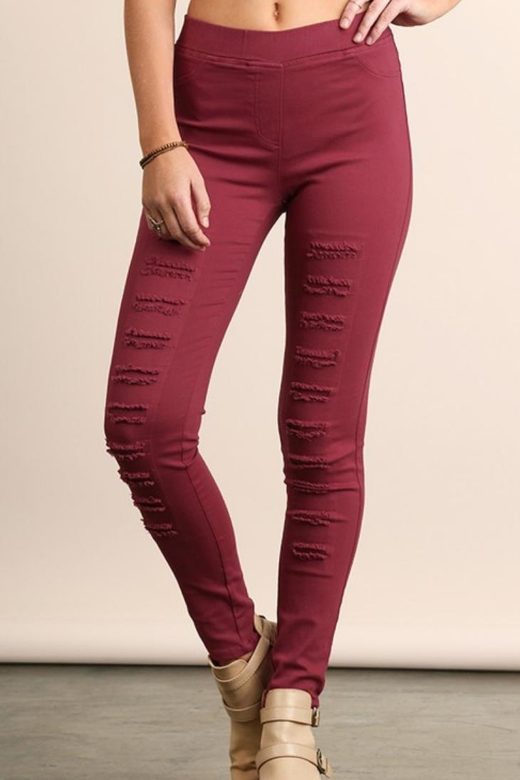 Umgee USA Colorful Distressed Jeggings - Front Cropped Image