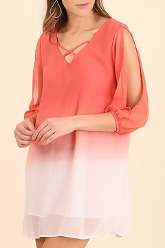 Umgee USA Coral Cold Shoulder Dress - Product List Image