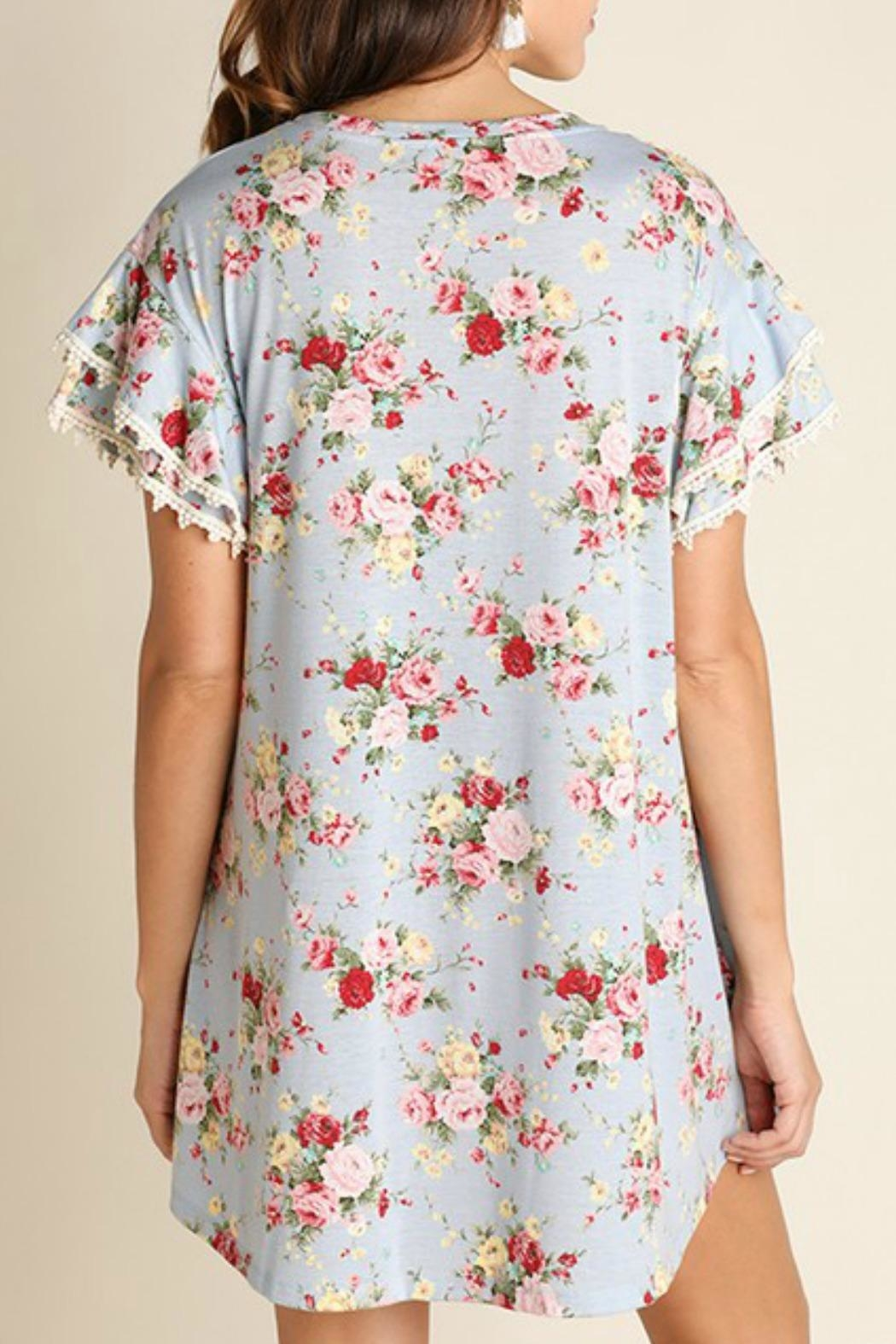 Umgee USA Cotton Floral Dress - Side Cropped Image