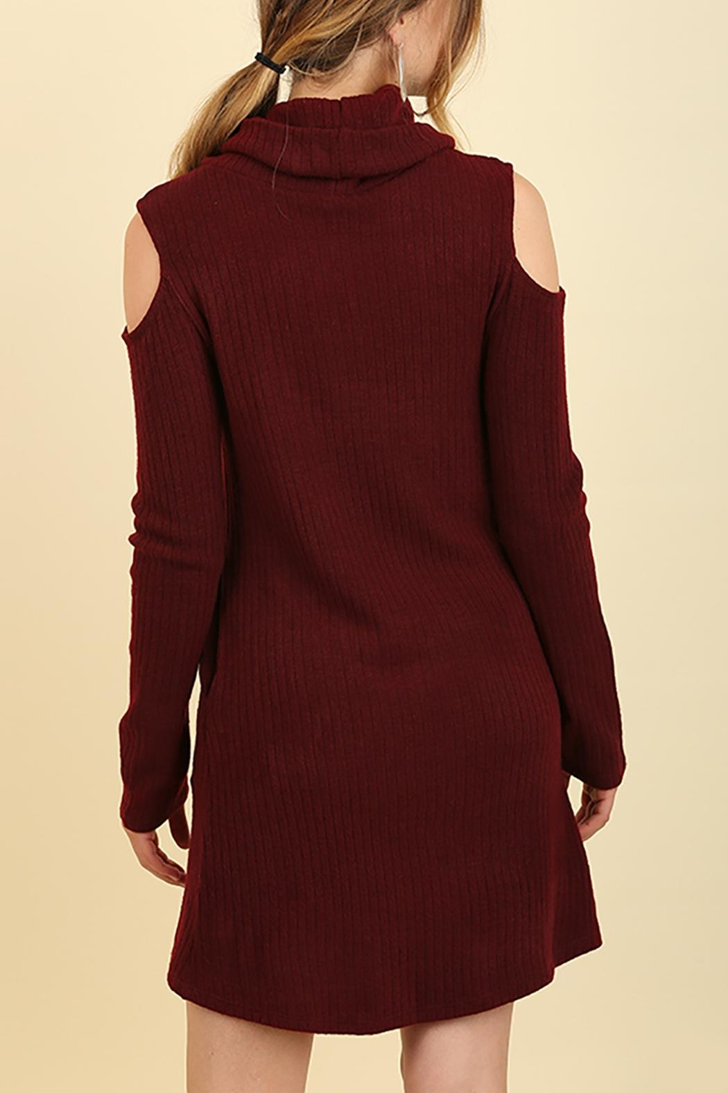 Umgee USA Cowl Neck Sweater Dress - Front Full Image