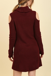 Umgee USA Cowl Neck Sweater Dress - Front full body