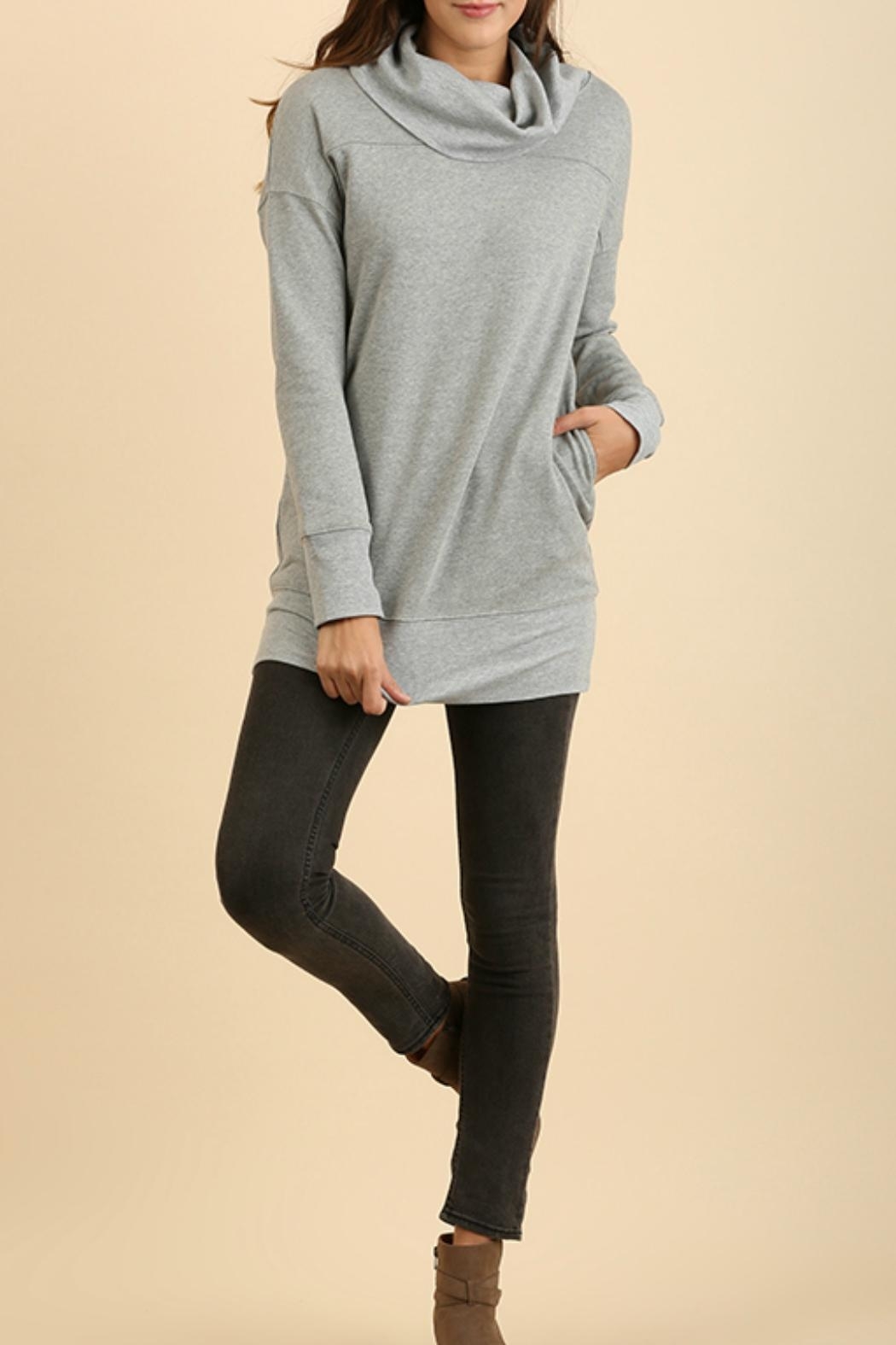 Umgee USA Cowl Neck Tunic Sweater - Front Full Image